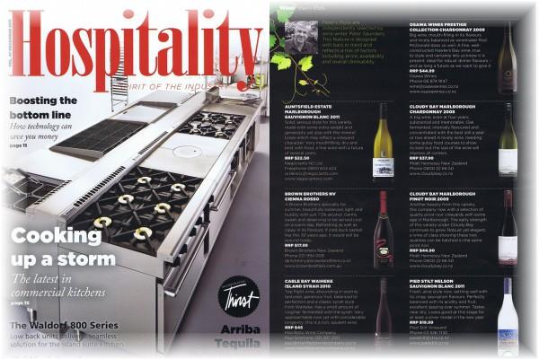 NZの業界雑誌『Hospitality』(2011年12月号)に掲載されました。