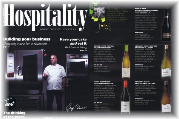 NZの業界雑誌『Hospitality』(2012年2月号)に掲載されました。